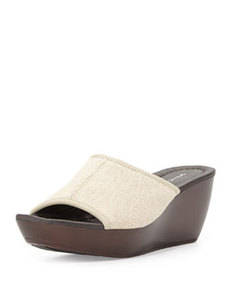 Donald J Pliner Casa Linen Band Slide-On Wedge, Natural