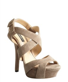 Dolce & Gabbana putty suede strappy platform sandals