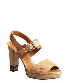 Fendi Tan lizard embossed leather block heel sandals
