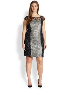 Kay Unger, Sizes 14-24 Contrast-Panel Lace Dress