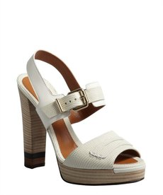 Fendi white lizard-embossed leather penny loafer platform sandals