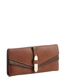 Kooba whiskey brown leather trifold continental wallet