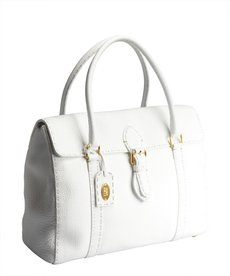Fendi white pebbled leather large top handle bag