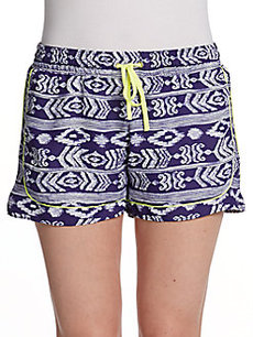 Saks Fifth Avenue GRAY Inka Printed Shorts