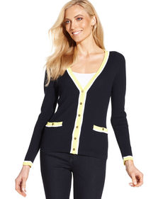 Jones New York Signature Petite Colorblocked Ribbed Cardigan