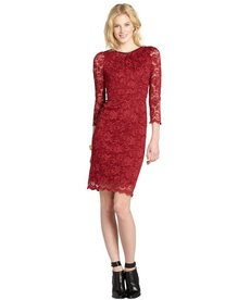 A.B.S. by Allen Schwartz burgundy lace long sleeve dress