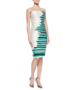 Lela Rose Silk-Embroidered Strapless Cocktail Dress, Jade/Multi