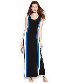 Calvin Klein Sleeveless Racer-Stripe Maxi Dress