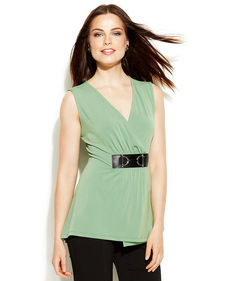 Alfani Sleeveless Buckle Faux-Wrap Top