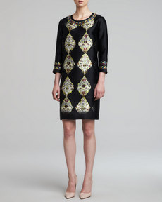 Etro 3/4-Sleeve Printed Silk Twill Dress, Black/Multi