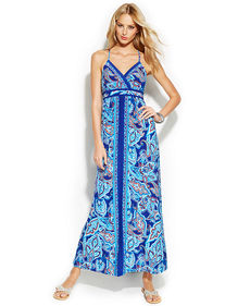 INC International Concepts Embellished Sleeveless Printed Maxi Dress