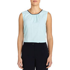 Sleeveless Shell with Pleated Neckline