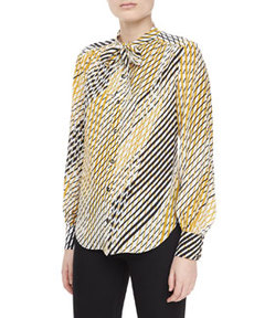 JASON WU Silk Printed Ascot Blouse