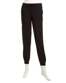 Max Studio Banded Drawstring Track Pants, Black
