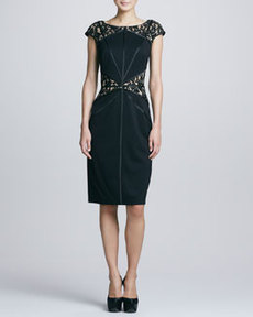 Tadashi Shoji Lace Yoke & Waist Cocktail Dress, Black