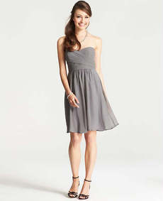 Petite Silk Georgette Strapless Dress