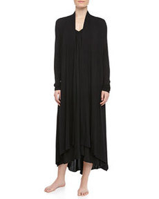 Tissue Crepe Long Robe, Black   Tissue Crepe Long Robe, Black