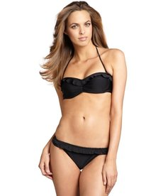 Shoshanna black matte nylon-blend ruffle bikini brief