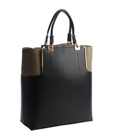Lanvin black and taupe leather 'Partition' large tote