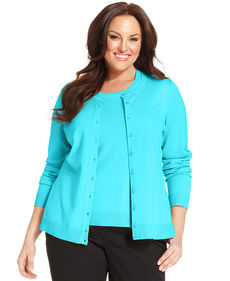 Charter Club Plus Size Long-Sleeve Cardigan