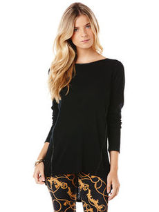 long sleeve tee with faux leather detail