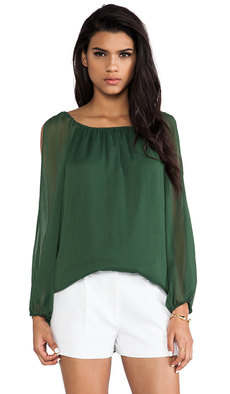 Alice + Olivia Merrie A-Line Cutout Peasant Top in Dark Green