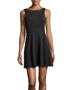 Susana Monaco Sleeveless Scalloped Stretch-Knit Dress, Black