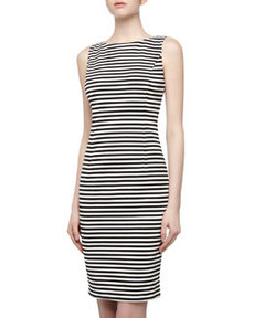 Isaac Mizrahi Striped Stretch Knit Sheath Dress, Black/White