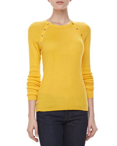 Michael Kors Button-Shoulder Cashmere Top, Sun