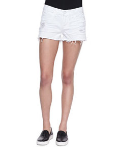 Low Rise Cutoff Denim Shorts, Vixen White   Low Rise Cutoff Denim Shorts, Vixen White