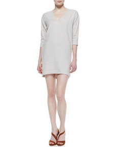 Resort V-Neck Linen-Blend Half-Sleeve Dress   Resort V-Neck Linen-Blend Half-Sleeve Dress