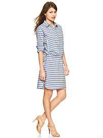 Stripe drawstring shirtdress