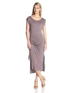 Three Dots Women's Pleat Draped Detail Midi Dress with Slits and Cuffs