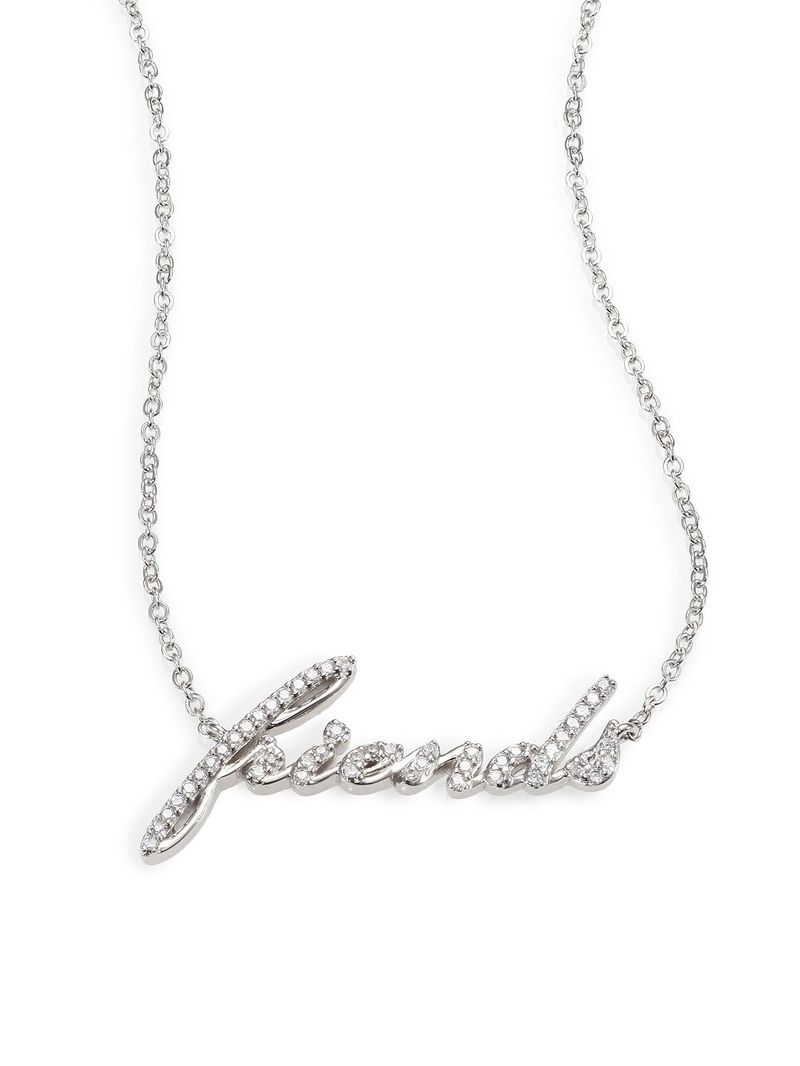 "Adriana Orsini Sterling Silver Pave ""Friends"" Pendant Necklace"