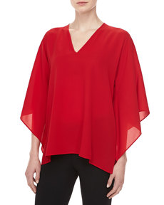 Michael Kors Silk Georgette V-Neck Tunic, Crimson