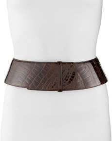 Curved Wide Alligator Belt, Chocolate   Curved Wide Alligator Belt, Chocolate