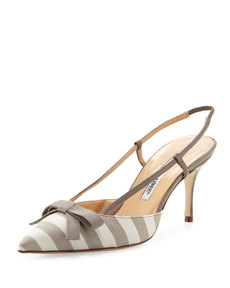 Manolo Blahnik Galop Striped Canvas Halter Pump, Taupe/White