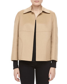 Michael Kors Double-Faced Plush Wool-Angora Jacket, Parchment