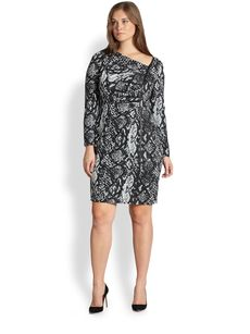 Kay Unger, Sizes 14-24 Snakeskin-Print Dress