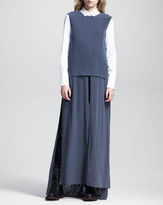 Brunello Cucinelli Sleeveless Slit-Front Dress