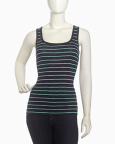 French Connection Striped Scoop-Neck Tank, Nocturnal/Hawaii Surf