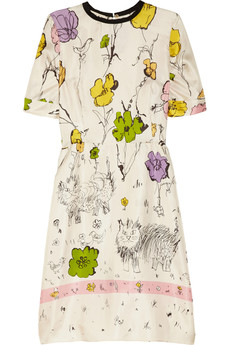 Marni Scratchy Cat printed silk-twill dress