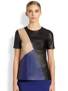 St. John Leather Colorblock Top