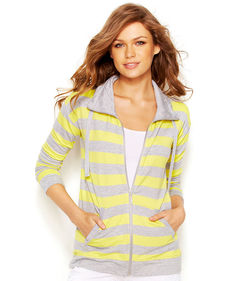 kensie French-Terry Striped Jacket