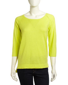 French Connection High-Low Raglan-Sleeve Sweater, Sulfur