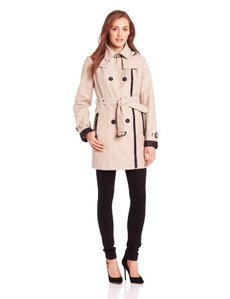 London Fog Heritage Women's Asymmetrical Zip Double Breasted Trench
