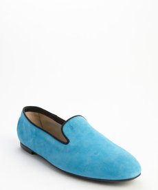 Tod's blue and black suede grosgrain trimmed loafers