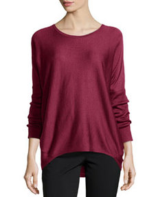 Lafayette 148 New York Mix-Knit Dolman-Sleeve Sweater, Spiceberry Melange