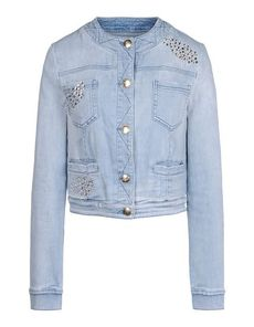 BLUMARINE Long sleeves Rhinestone detailing Faded Effect Worn effect Denim Solid color Light wash Button closing Four pockets Unlined Round collar Single button cuffs Denim Woven not made of fur Long sleeves