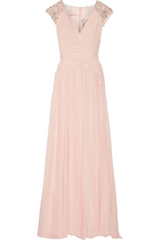 Badgley Mischka Embellished silk-chiffon gown